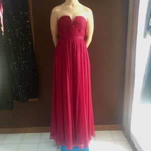 Rosey Red Strapless Crinkle Gown